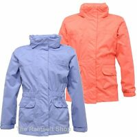REGATTA GIRL MAYFLOWER HOODED WATERPROOF BREATHABLE RAIN COAT JACKET 3-12YRS