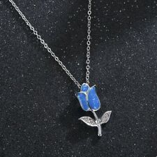 SILVER PLATED DELICATE BLUE SPARKLY ROSE FLOWER PENDANT DIAMANTE NECKLACE CHAIN