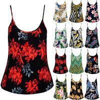 Womens Ladies Camisole Stretchy Strappy Basic Floral Print Flared Swing Vest Top
