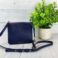 BCBG MAXAZRIA Womens Purse Crossbody Shoulder Strap Blue Leather Mini Bag