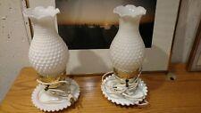 Vintage White Milk Glass  Hurricane Electric Lamp Hobnail