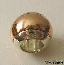 GENUINE SERENITY 9ct SOLID ROSE GOLD & 9ct SOLID WHITE GOLD CHARM DOME BEAD