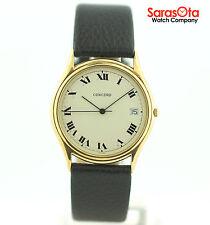 Concord 20 718 214 14K Yellow Gold Roman Numeral Dial Leather Quartz Men's Watch