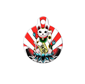 Pet ID Name Tag Chinese New Year Lucky Cat Personalised Customised Dog Cat Tag