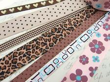 14 yards Assorted Craft Grosgrain Dots/Heart Ribbon Scrapbooking Mix Lot R-Brown