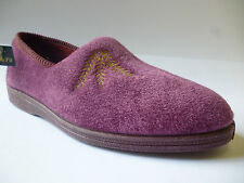 Sleepers Zena Fern Motif SLIPPER Wide E/ee Fitting Ladies UK 8 / EU 41 Heather Velour
