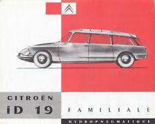 CITROEN DS ID19 ID 19 Break Familiale Oldtimer Prospekt Brochure Sheet 60