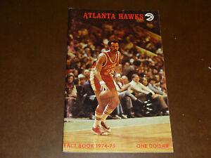 1974 1975 ATLANTA HAWKS NBA BASKETBALL  MEDIA GUIDE LOU HUDSON  EX