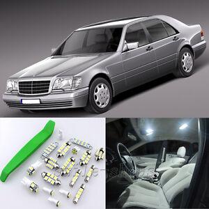 White 25pcs Interior LED Light Kit for 94-98 Benz S-Class W140 Sedan + Free Tool