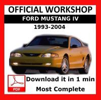 >> OFFICIAL WORKSHOP Manual Service Repair Ford Mustang IV 1993 - 2004