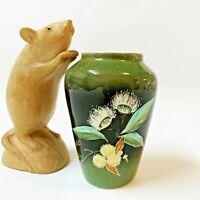 Studio Anna, Vintage Australiana Vase 10cm Gum & Wattle Blossom Bright Vic, NQR