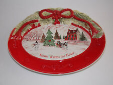 "Fitz And Floyd Christmas Sentiment Tray ""Home Warms the Heart"""