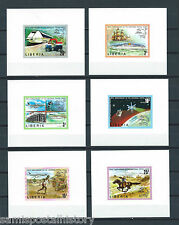 Liberia mnh stamp set in deluxe imperf sheets - space - transport - horse