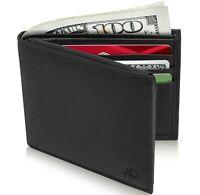 Genuine Leather Mens Slim Wallets Bifold Cardholder With ID Window RFID Blocking