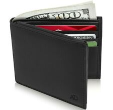 Genuine Leather Mens Slim Wallets Bifold Cardholder With ID Window RFID Blocking