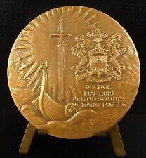Médaille Michel Marques DE GROSOURDY DE SAINT-PIERRE Drakkar viking boat medal