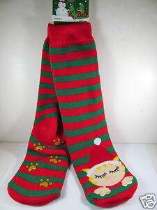 K.Bell Christmas Kitty Red Green Stripe Tube Non-Skid Ladies Slipper Socks New