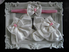 BABY GIRLS FRILLY SOCKS IN PINK & CREAM WITH MATCHING HAIR BAND SIZES 0-2 1/2