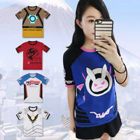 Overwatch D.VA DVA Soldier 76 Tracer T-shirt Short Sleeve Tee Cosplay Anime Top