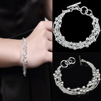 Hot Fashion Women Silver Punk Cuff Bracelet Bangle Hand Chain Wristband Jewelry