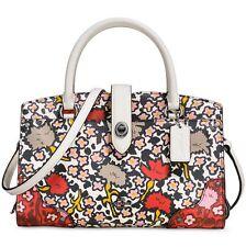 NWT Coach Mercer Satchel 24 in Yankee Multi Floral Printed Leather Chalk F57703