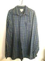 L.L. Bean Men's Flannel Shirt Long Sleeve Blue Plaid Size 2XL XXL