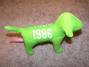 "VICTORIA'S SECRET 8"" Plush PINK Lime Green Collectors Logo Dog Stuffed Animal"