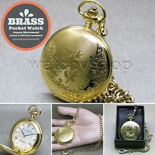 Gold Pocket Watch Brass Case Men Large Size 47 MM + Fob Link Chain P253