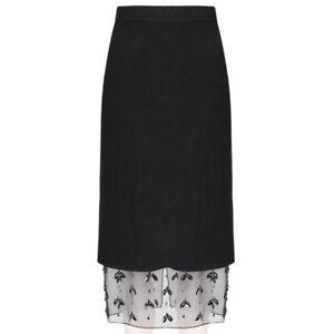 Mother of Pearl Black Layered Sheer Bejewelled Hem Pencil Skirt UK10 IT42