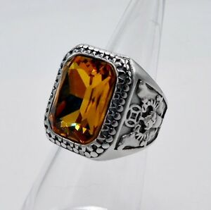 MEN RING YELLOW SAPPHIRE STAINLESS STEEL SILVER SQUARE POPE BISHOP VTG LOK SZ 10