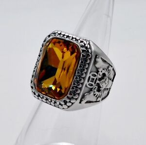 MEN RING YELLOW SAPPHIRE STAINLESS STEEL SILVER SQUARE MEDIEVAL BISHOP VTG SZ 10