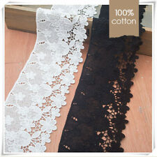 100% Cotton Embroidered Floral Mesh Lace Trim Edging Sewing Craft Vintage Retro