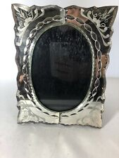 Mirrored Glass Oval Table  Frame With Wood Back 5x7 Opening