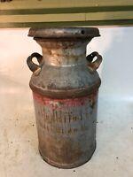 Vintage Antique Small Metal Dairy Farm  Carnation Milk Waterloo Can Keg & Lid