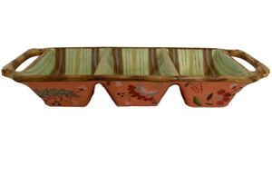 Tracy Porter Artesian Road Collection 3 Part Handled Relish Tray Stripes and Flo