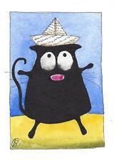 ACEO Original watercolor painting whimsical fat black cat - paper hat