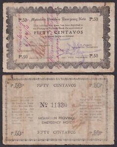 Philippine 50 Centavos Mountain Province COUNTERSIGNED WW2  FR Follosco KAINGAN