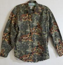 Banana Republic Safari Shirt Mens Size XL Green / Pheasant Print Cotton