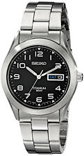 Seiko Men's Black Dial Titanium Silver Watch SGG711