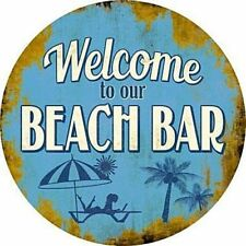 "Welcome to Our Beach Bar 12"" Round Metal Sign Novelty Sun Coastal Home Decor"