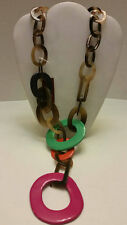 100% Buffalo horn multi lacquered chunky link necklace