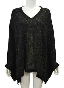 Women's Girls Fine Knit Gems Detailed V Neck Relaxed Fit Cape Poncho Jumper Top