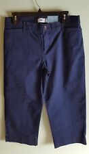 NWT Old Navy Women's 8 REG Twill Wide Leg Casual Ankle Crop Pants NAVY #32218