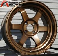 16x8 Rota GRID V 4x100 +0 Full Royal Sport Bronze Wheels (Set of 4)