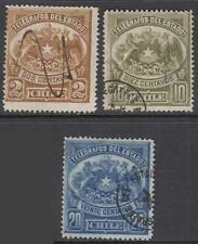 Chile Telegraph Stamp #1-3 used 1883 cv $5