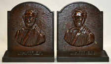 1926 PAIR BOOKENDS WHITTIER Poet CAST IRON Vintage SOLID