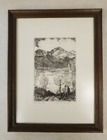 Lyman Byxbe Pencil Signed Etching - Long's Peak Framed Very Good Condition Small