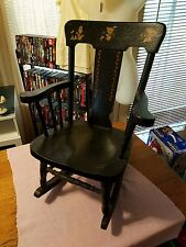 "Vintage Black Wooden Child Childrens Solid 27"" Tall Solid Wood Kid Rocking Chair"