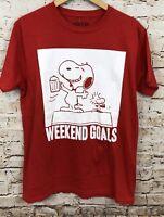 Peanuts Snoopy shirt mens large weekend goals Beer woodstock red new tshirt S3