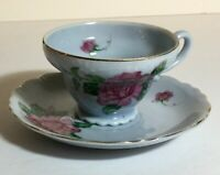 Vintage Shafford Hand Painted Japan Blue with Pink Rose Tea Cup and Saucer Set